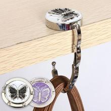 1PC Lovely Color Butterfly Design Handbag Folding Bag Purse Hook Hanger Holder for gift Beetle Lock Bling A4