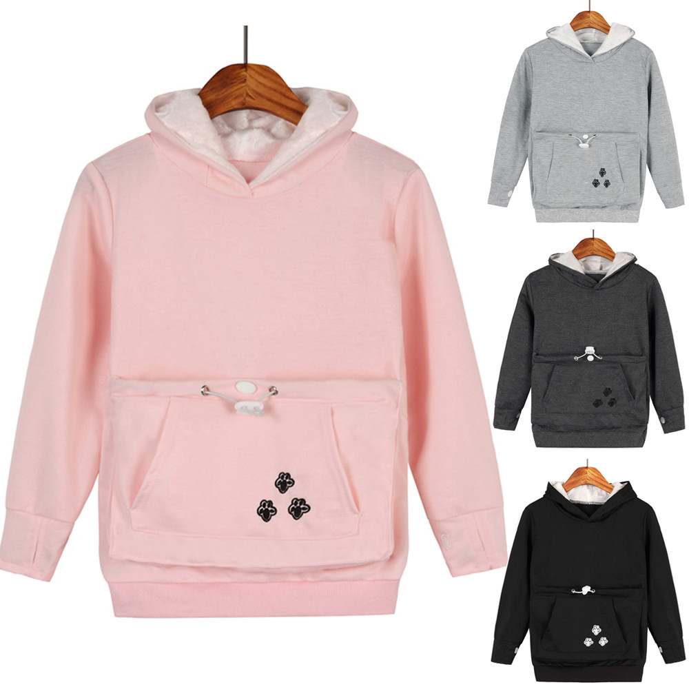 Baby Hoodies Pocket-Shirt Pet-Dog-Cat-Holder Kids Clothes Fleece Winter Boys Plush Warm title=