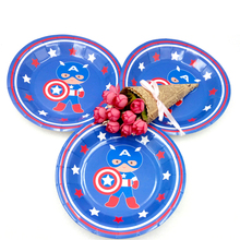 6pcs/Lot Captain America Theme 7 Plate Birthday Party Decoration Kids Supplies Favors Event