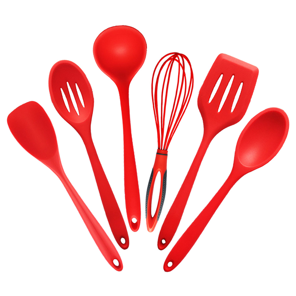6pc Set Kitchen Silicone Cooking Tools Food Grade Silicone and Nylon Cooking Utensils Set for Spoon