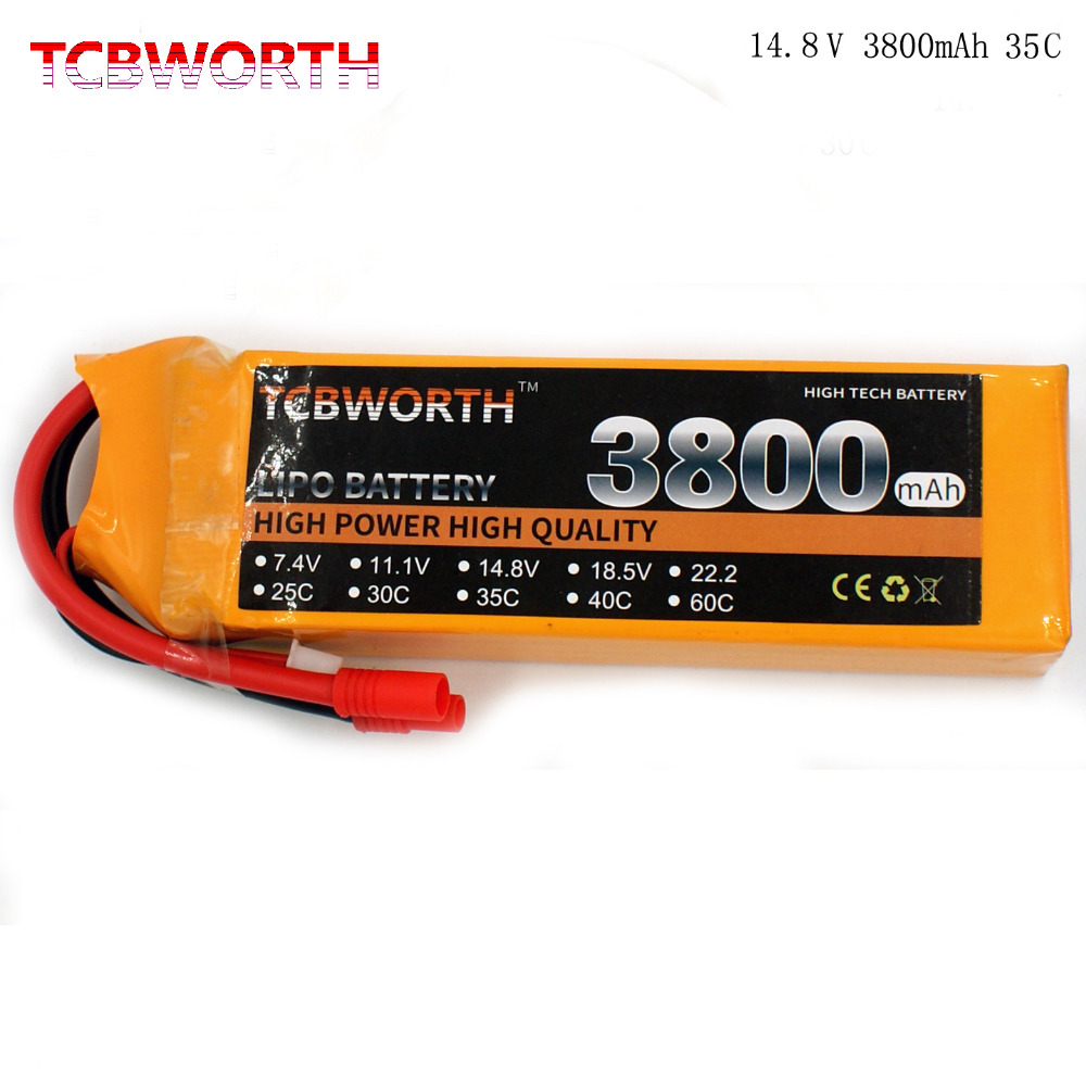TCBWORTH RC LiPo battery 4S 14.8V 3800mAh 35C-70C For RC Airplane Helicopter Quadrotor Car boat Truck Li-ion battery tcb rc lipo battery 11 1v 16000mah 25c 3s for rc airplane car dron quadrotor boat li ion batteria 3s