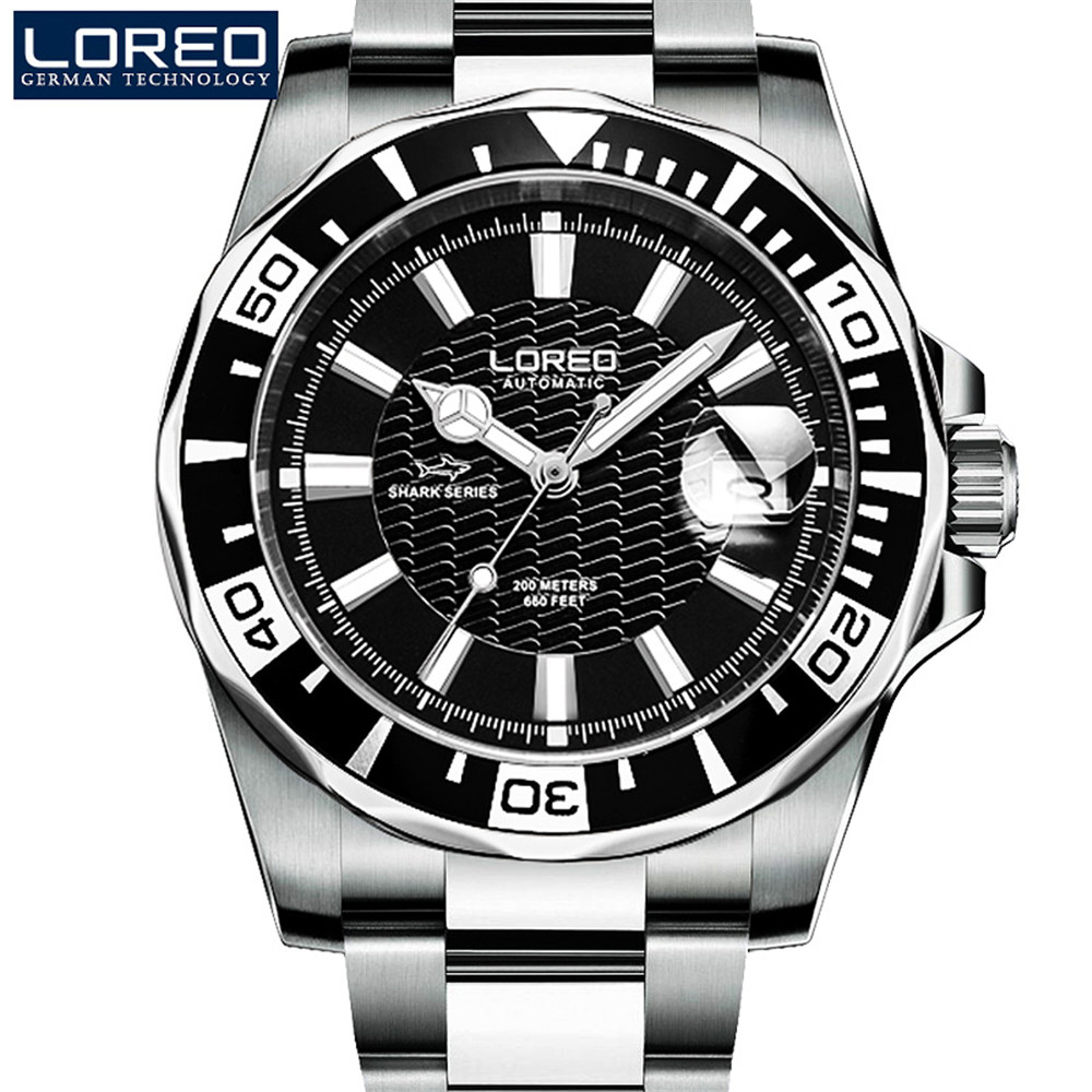 все цены на LOREO Mens Watches Top Brand Luxury Submariner Steel Automatic Mechanical Watch Men Diver Watches 200M Waterproof Luminous Watch онлайн