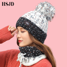 Winter Women Hat Scarf Set Sweet Lovely Dots Snowflake Warm Knitted Hats Caps for Girls Skullies Beanies hat with Pom pom female