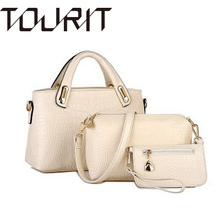 TOURIT Famous Brands Handbags Luxury Elegant Female Crocodile Women s PU Leather Handbag 3 Pcs Set