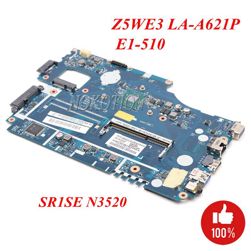 NOKOTION Z5WE3 LA A621P Laptop motherboard for Acer E1 510 DDR3 NBC3911001 NB C3911 001 Main