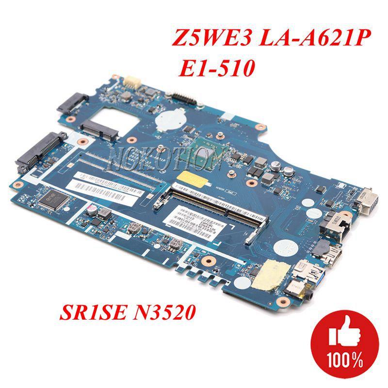 NOKOTION Z5WE3 LA-A621P Laptop Motherboard For Acer E1-510 DDR3 NBC3911001 NB.C3911.001 Main Board SR1SE N3520 CPU