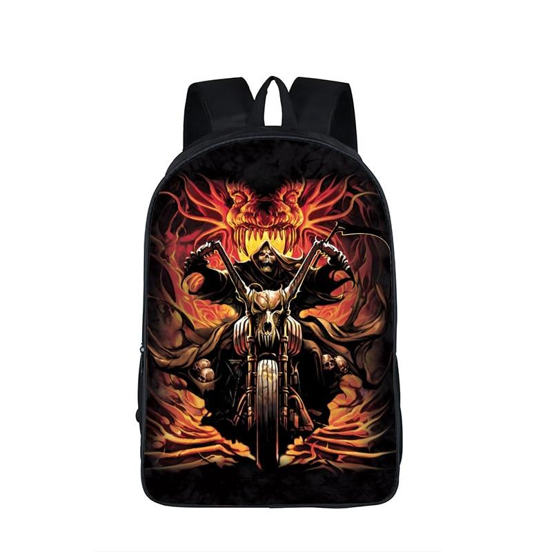 Motercycle Skull Printing Backpack Street Rock Bag Harley Backpack for Teenagers Girls Boys Daily Backpack Punk Kids School Bags