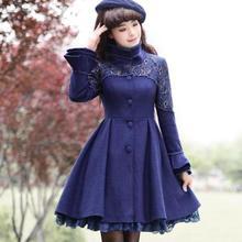 Зимние женские пальто размера плюс 3XL со стоячим воротником, Модные Винтажные тонкие синие шерстяные пальто с кружевами