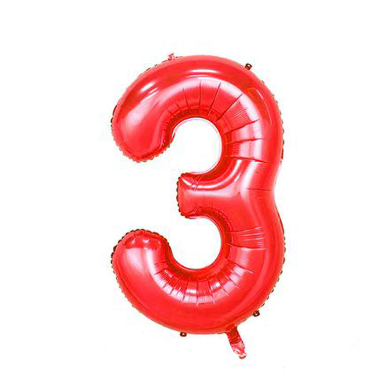 32 дюйма розовый синий 40 дюймов красный фольгированный шар большой гелиевый номер 0-9 Globo день рождения для детей Вечеринка мультфильм шляпа Декор - Цвет: red 3