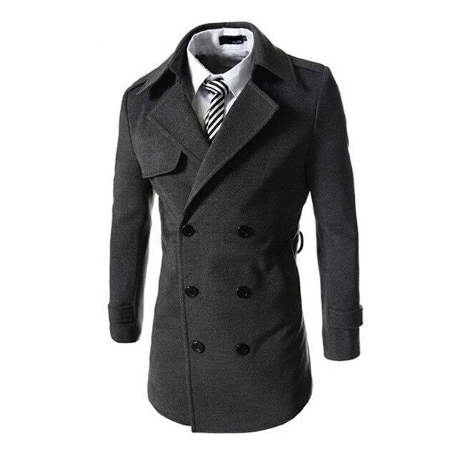 Men Outerwear Woolen Blend Jacket Double-Breasted Trench Coat Windbreaker