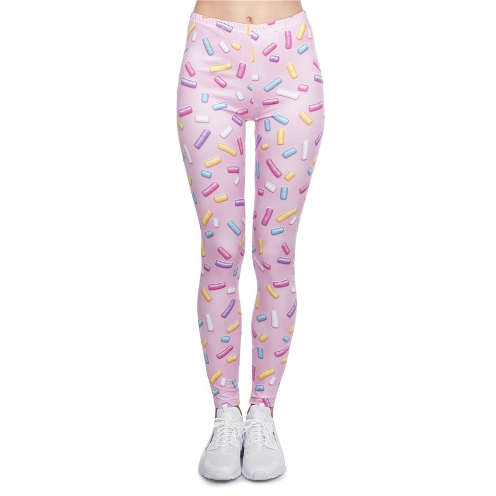 New leggins mujer Sprinkles Pink Printing   legging   sexy feminina leggins fitness Woman Pants workout   leggings