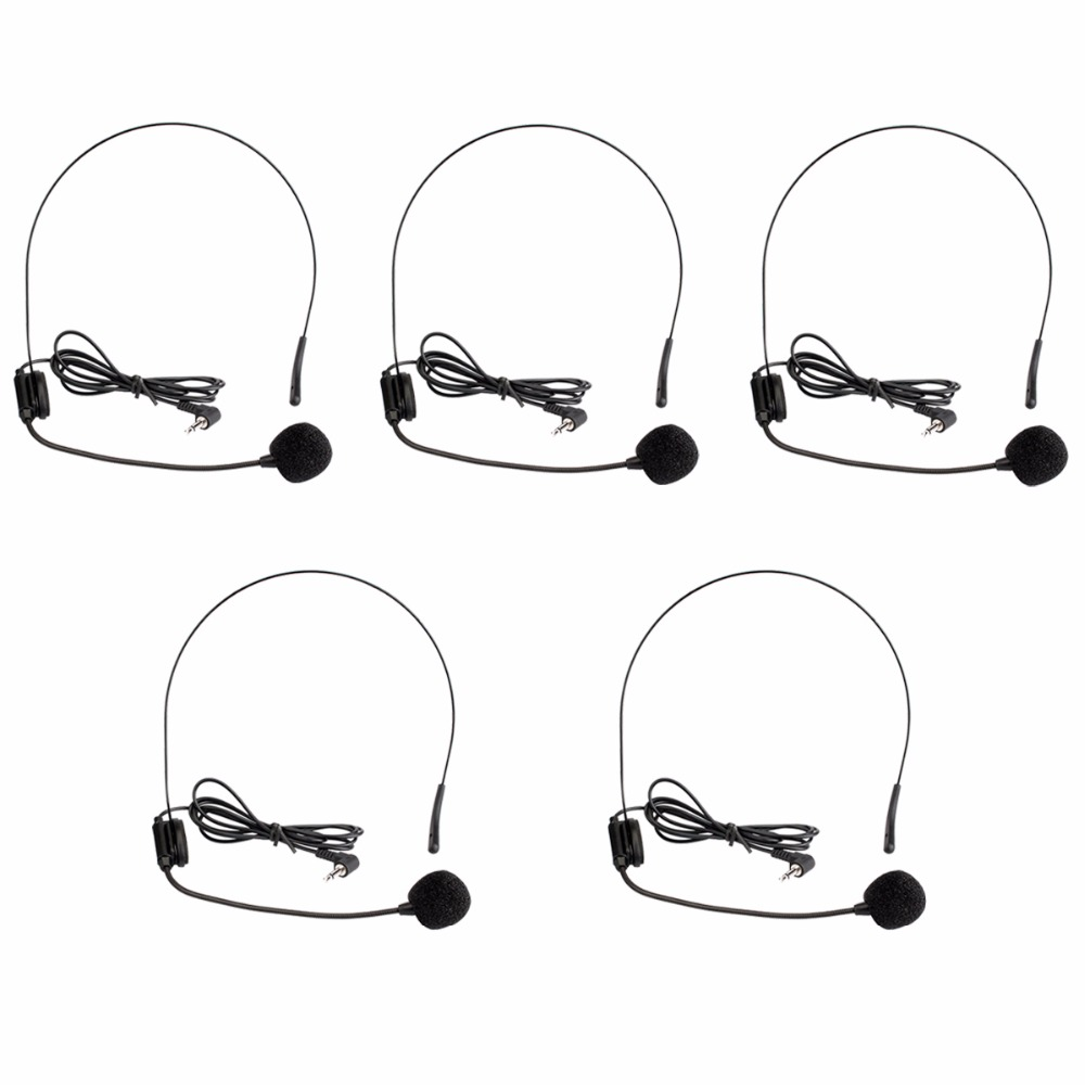 5pcs Mini Headset Microphone Condenser MIC for Voice Amplifier Speaker Professional Tour guide System Wireless F4512A cfsunbird best price 10pcs max9812 microphone amplifier sound mic voice module for arduino 3 3v 3 5v