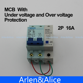 2P 16A MV+MN 400V~ 50HZ/60HZ MCB with over voltage and under voltage protection  Mini Circuit breaker