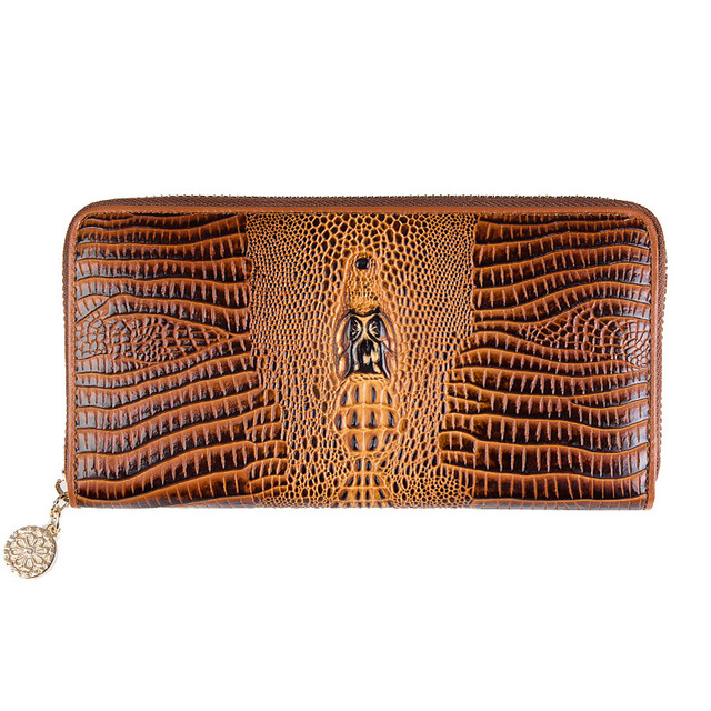 Genuine Leather Zipper Wallets Female Purse Women's Clutch Alligator Pattern Phone Bags Bank Card Holders Fashion Design Handbag