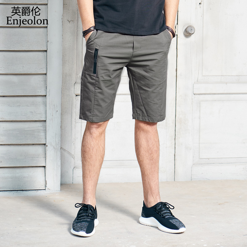 Enjeolon Brand Top 2020 Summer Casual Shorts Men Cotton Sim Solid Base Man Shorts Available Knee Length High Quality K6806