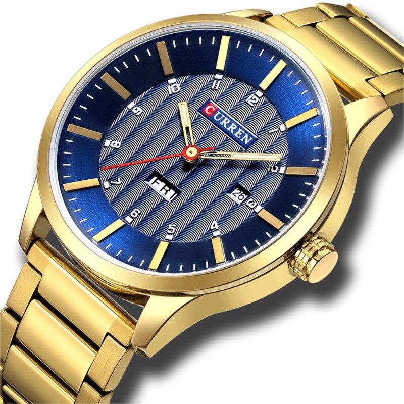 CURREN 8316 новые мужские модные брендовые стали пояса неделю календарь жизнь водонепроницаемый Спорт Кварцевые часы из нержавеющей стали мужс...