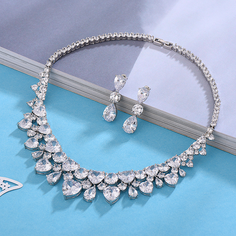 Mode à la mode 925 en argent sterling africain ensemble de bijoux pour mariage goutte boucle d'oreille collier pendentif femmes bijoux fête cadeaux J4783