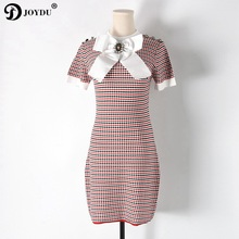 2018 Runway Sweet Summer Dresses for Women Short Sleeve Knitted Mini Plaid Bandage Dress Korean Beading Bow Tie Party Vestidos