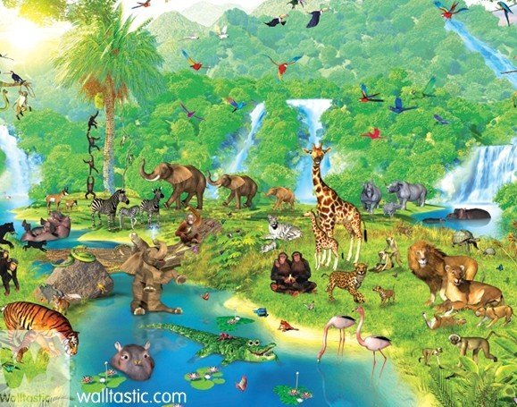 new uk children s wallpaper mural walltastic jungle adventure 100