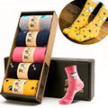 5 Pairs/Lot New Design Cartoon Breathable Polyester Cotton Women Socks Autumn Spring Winter Casual Socks With Gift Box