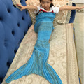 Yard Knitted Mermaid Tail Blanket Handmade Children Mermaid Blanket Super Soft Throw Bed Wrap Swaddle Sleeping Bag 135*42cm