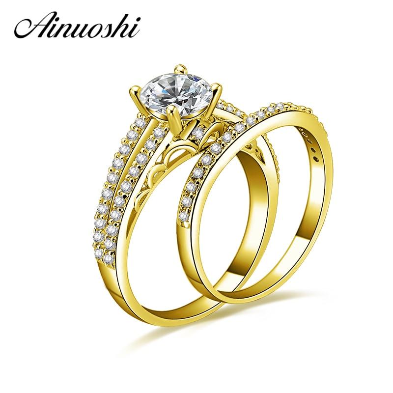 7ae6e5cab07c AINUOSHI 10 K sólido oro amarillo anillo nupcial 4 Prongs 1ct corte redondo  brillante SONA diamante anillo de compromiso joyería de la boda