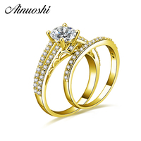 AINUOSHI 14K Solid Yellow Gold Bridal Ring Set Trendy Round Cut Brilliant SONA Diamond Wedding Band Women Engagement Gold Ring