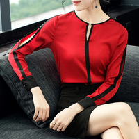 100% шелк с круглым вырезом Пуловеры Блузка 2019 новые женские весенне летние рубашки с длинным рукавом