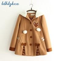 LDHTZKCX Brown Loose Hooded Woolen Coat Women 2018 Winter New Ladies Cartoon Cute Single Breasted Pockets Cotton Wool Coat CX450