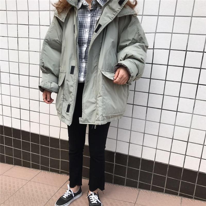 Couleur Nouvelle Solide Green bean Veste Ash Longue Chaud Apricot 2018 Version Coton À Manteau Coréenne Femmes La black Lâche Capuchon De Automne Hiver Css332 ZqEpwxnB1a