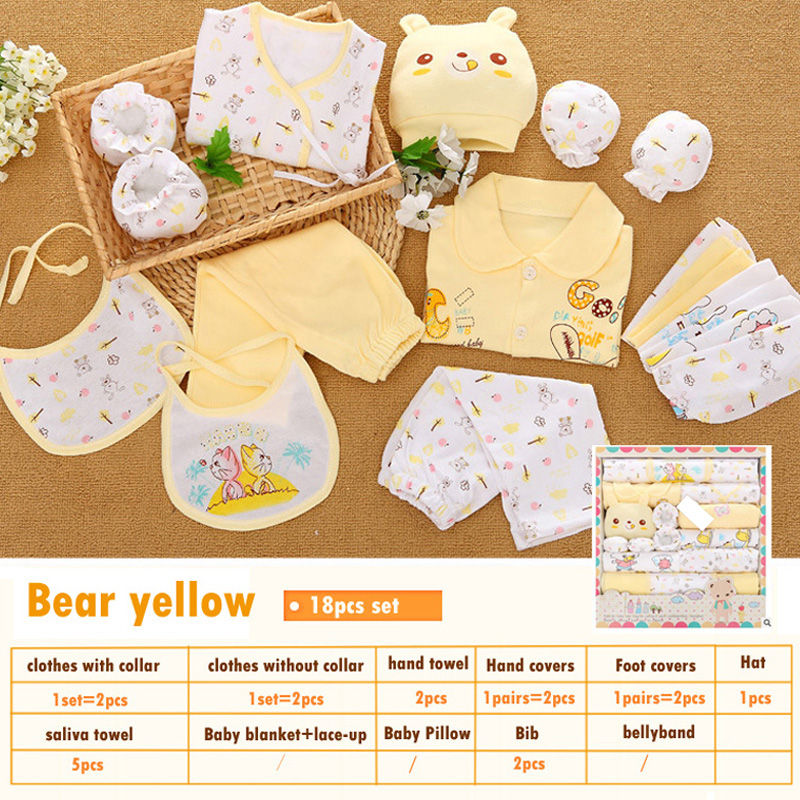 18pcs set 100 cotton newborn baby clothing gift sets infants cute cartoon suit Spring Summer baby girls boys clothes tracksuit in Clothing Sets from Mother Kids