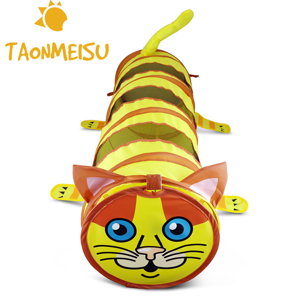 Folding Cute Cat Shaped Tunnel Pet Tent Toy Foldable Kitten Play Cat Training Toy Unique Design Collapsible Bulk Cat Toys