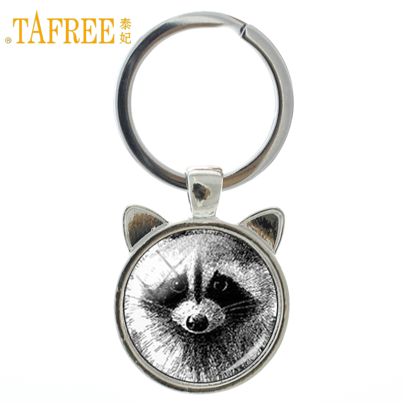 TAFREE Vintage charm Raccoon keychain retro wild animal raccoon glass dome ear key chain ring holder men women car jewelry CN140 цены онлайн