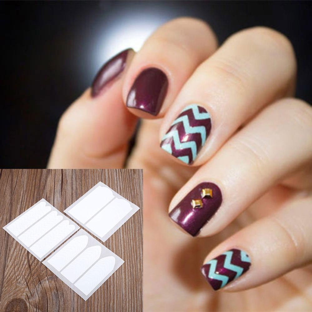 ୧ʕ ʔ୨18 Sheets All Style French Nail Sticker Manicure Tips Guide ...