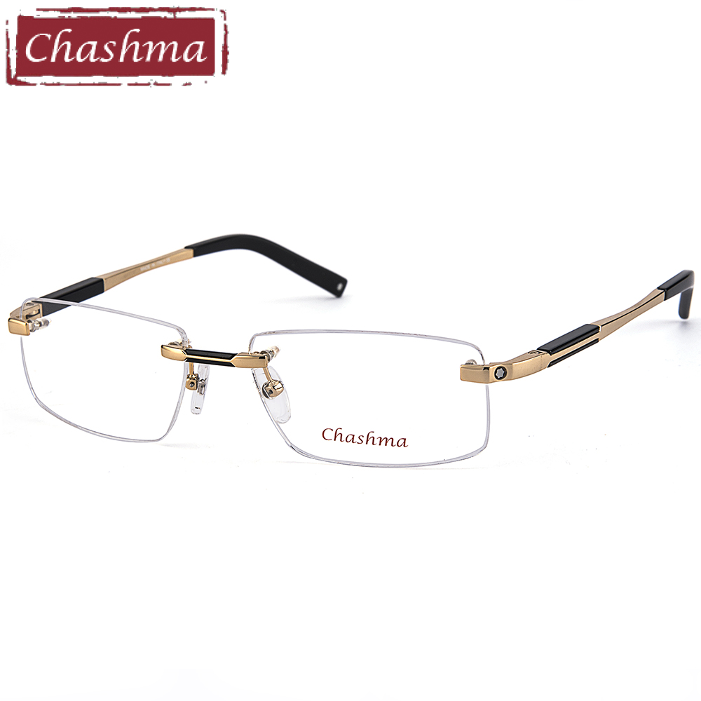 9c4aa29a1218b Chashma Top Qualidade Óculos Sem Aro De Titânio Óculos Moldura Marca  Optical Óculos de Armação Homens