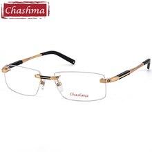 02494d4ae5296 Chashma Top Qualidade Óculos Sem Aro De Titânio Óculos Moldura Marca  Optical Óculos de Armação Homens