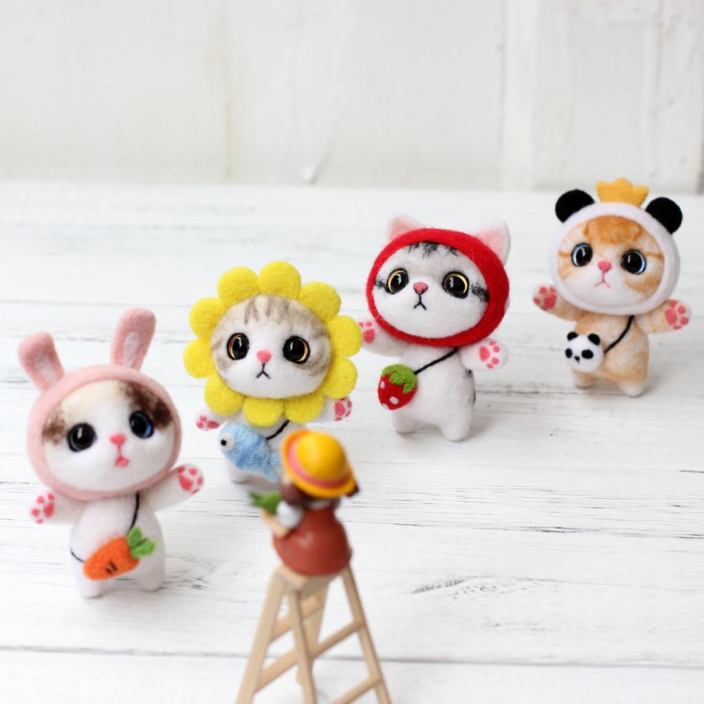 Felt Craft Cute Cat Felting Poked Wool Felt Poked Set Handmade DIY Non Finished Felting Poked Cat Handmade Craft Wool