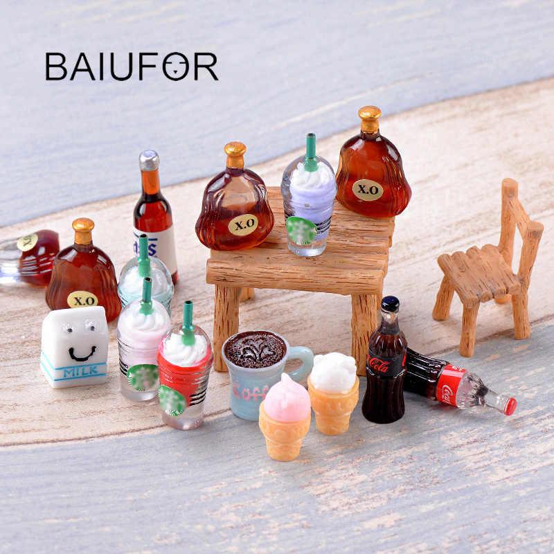 BAIUFOR миниатюрные супер мини кофе мороженое пиво DIY статуэтки для террариума Феи сад Миниатюрный Кукольный дом, Барби, Lol Декор