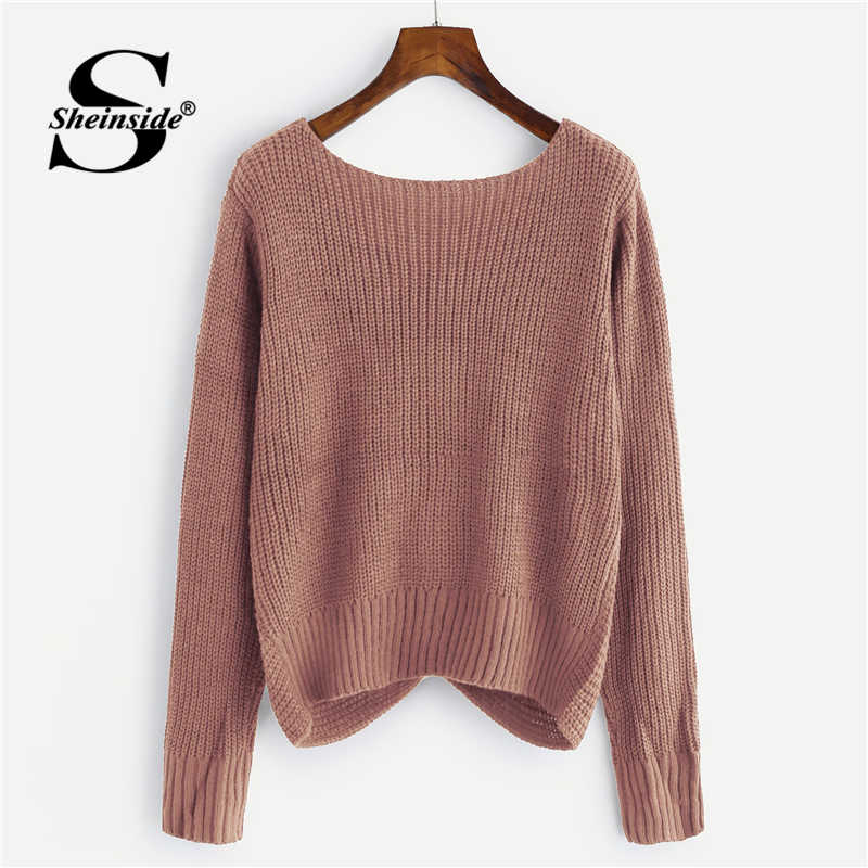 6f7570f5ce ... Sheinside Pink V Neck Twist Front Chunky Sweater Casual Pullover Womens  Sweaters 2018 Fall Winter Tops ...