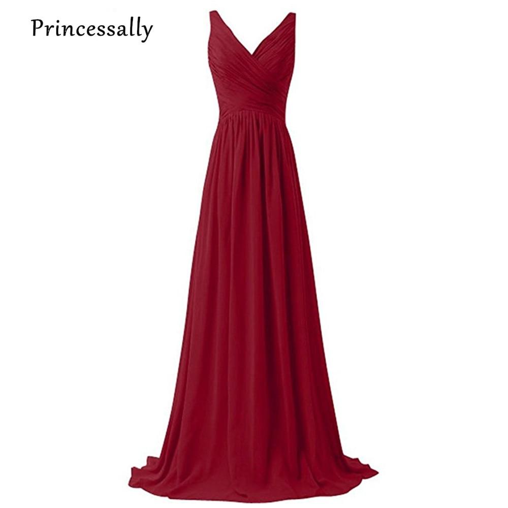 Long Wine Red Bridesmaid Dress Floor Length V Neck Sleeveless Bridesmaid Prom Party Gown Vestido De Festa Longo Formal Dresses