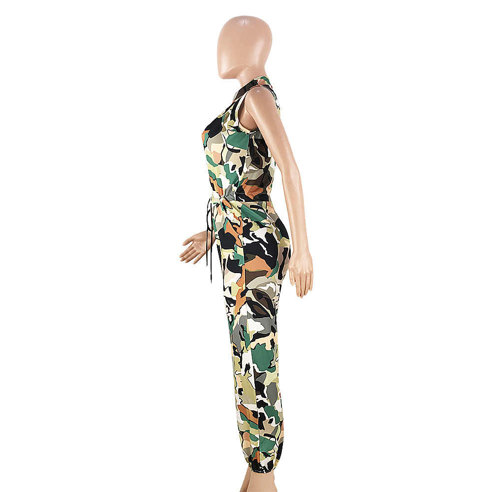 Echoine Summer Women Sexy Camouflage Print Jumpsuits Front Zipper Up Sleeveless Pockets Cool Thick Streetwear Casual Rompers
