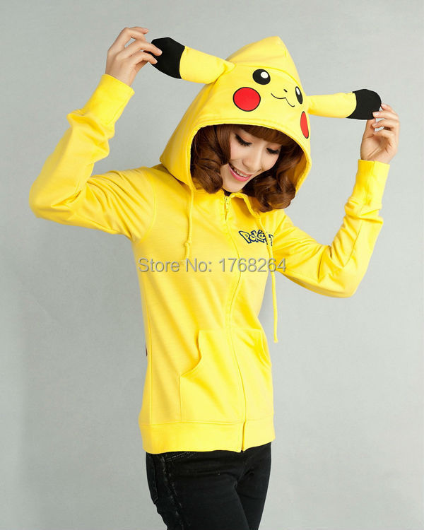 Anime Animal Mujeres Hombres Cute Pokemon Pikachu Chaqueta con capucha Yellow Hoodie with Ears Polar Fleece Winter Hoody Plus Size Outwear