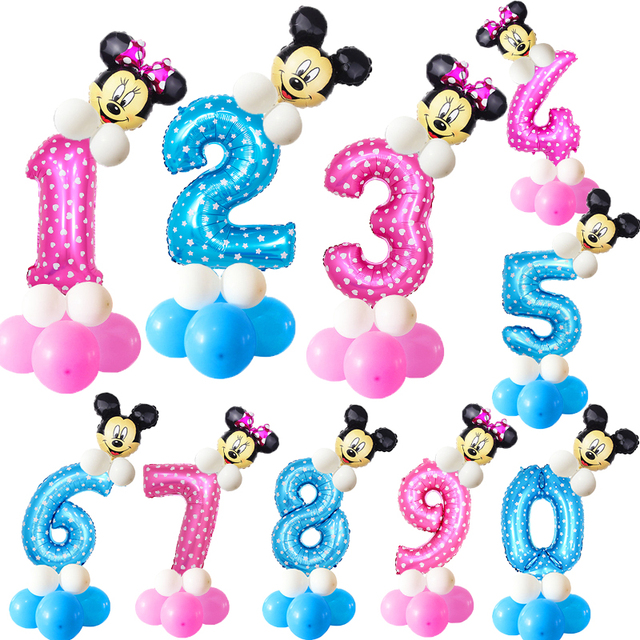 19pcs 32inch Pink Blue Birthday Digital Balloons With Mickey Minnie Foil Balloon Children Birthday Party latex Ballon 1 2 3