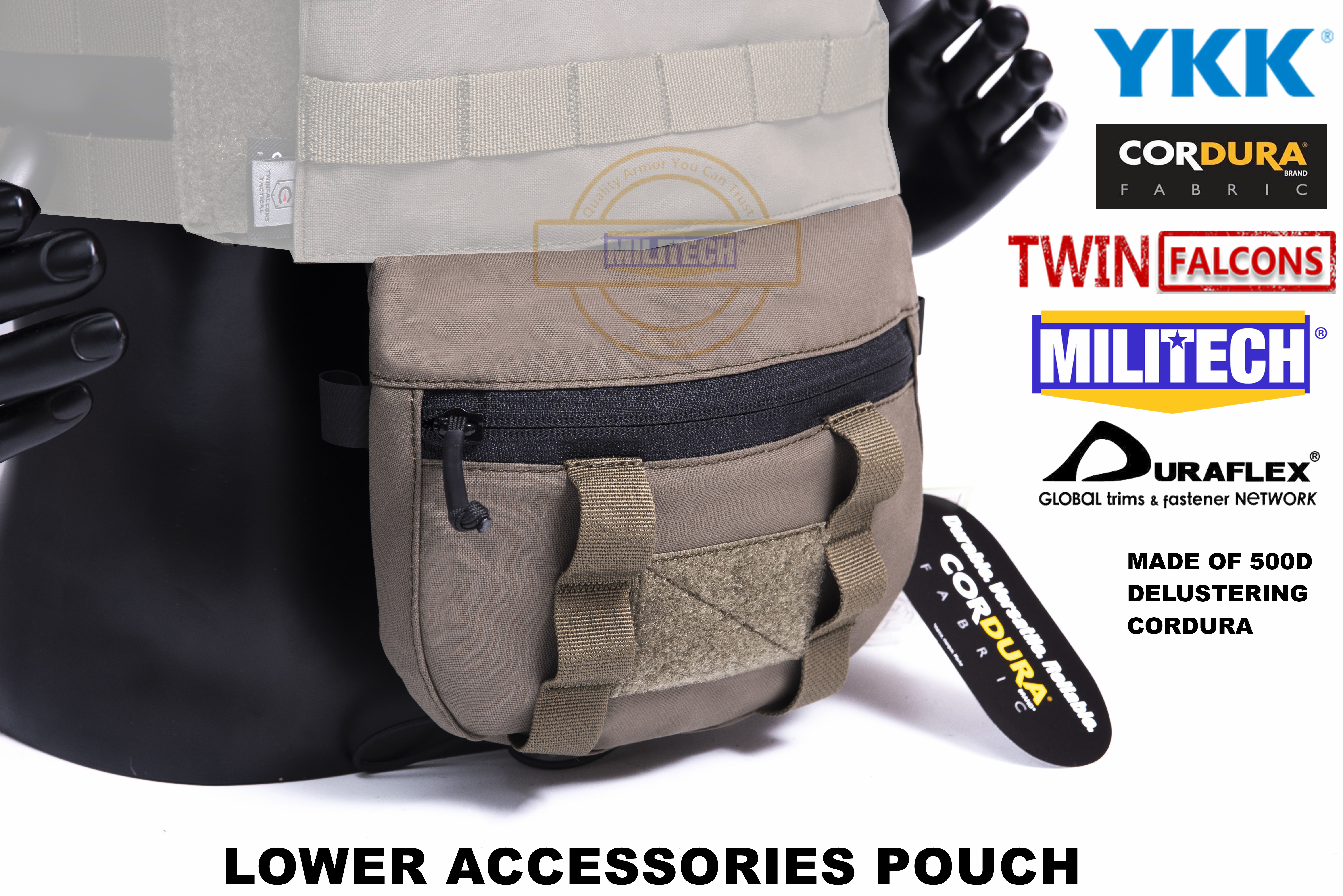 MILITECH TWINFALCONS TW Delustered Cordura Plate Carrier Lower Accessory Pouch Sub Abdominal Pouch Groin Bag