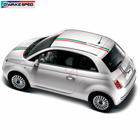 For Fiat 500 Racing Flag Stripes Car Hood Roof Tail Sticker Auto Body Decor Decals Exterior Accessories Fashion Waterproof Decal