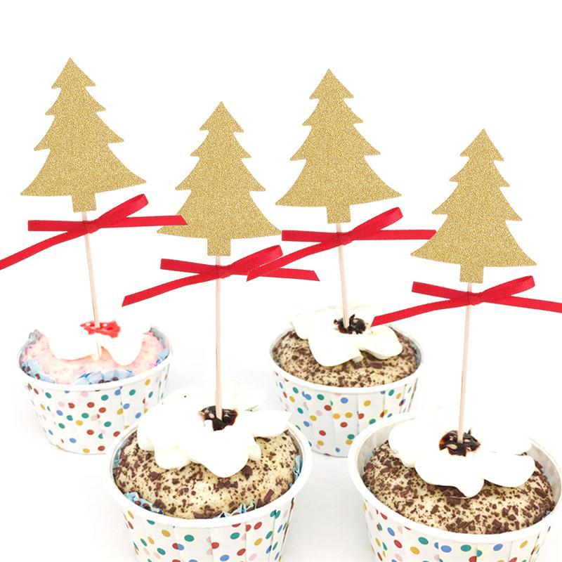 10 pcs cupcake topper decorative christmas trees cupcake picks for party decoration golden - Decorative Picks For Christmas Trees
