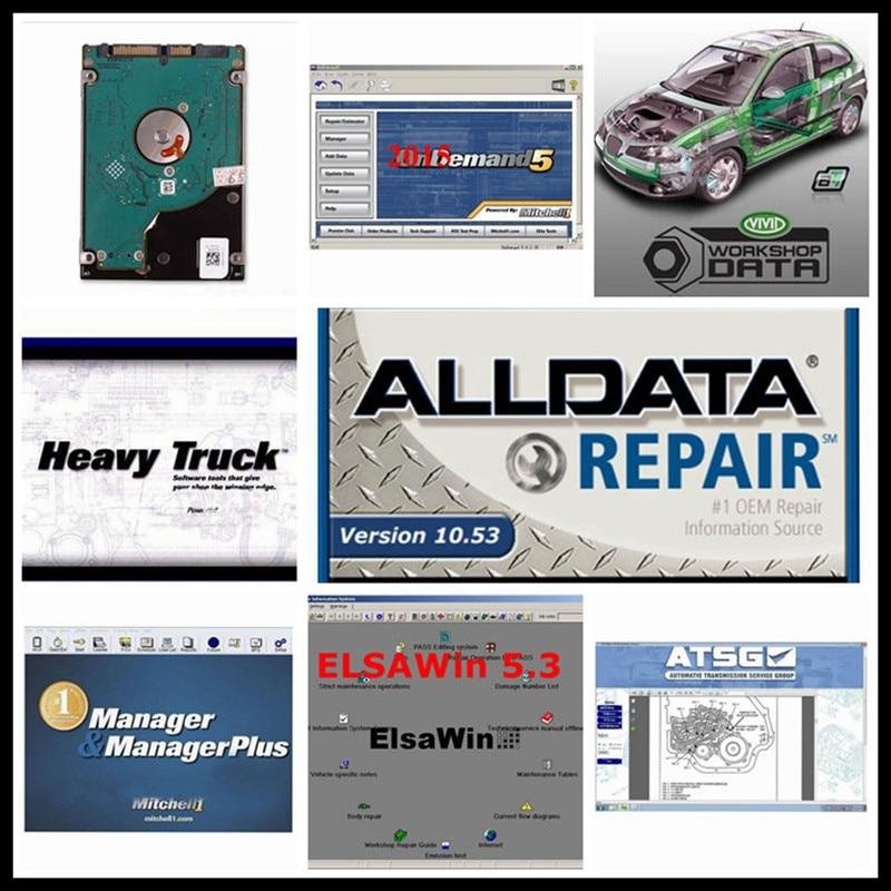 2020 Alldata Software Auto Alldata 10.53 e mit chell // od5 2015 reparação de automóveis software Elsawin 1tb hdd usb 6.0 dados vívida oficina