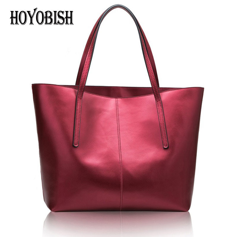 HOYOBISH 100% Real Genuine Leather Female Tote Bags Top-handle Handbag For Women Luxury Leather Big Capacity Shoulder Bags OH008 uslion phone case for iphone 7 6 6s 8 x plus 5 5s se xr xs simple solid color ultrathin soft tpu cases candy color back cover