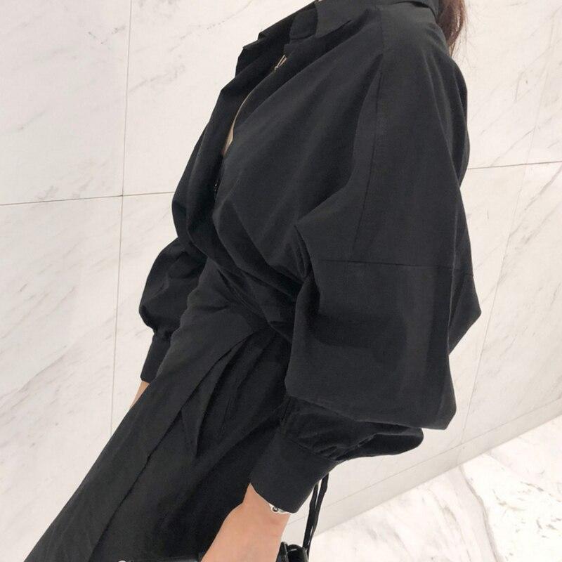 CHICEVER Solid High Waist Lace Up Dress For Women Hem Split Lantern Sleeve Slim Summer Dresses Female Clothes Fashion Korean New 11
