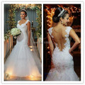 Romantic Wedding Dress 2017 Sweetheart Sleeveless Sheer Back Sweep Train Vetido De Noiva Tulle and Applique White Wedding Gowns